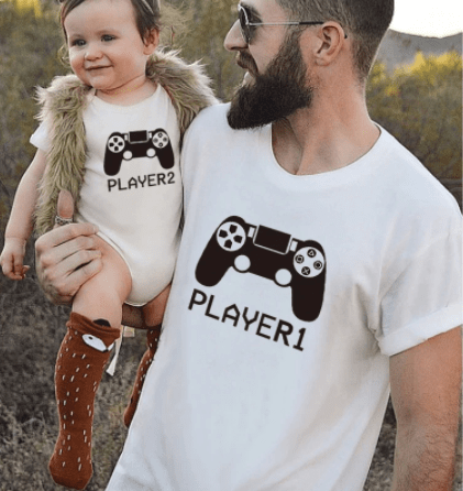 Tee shirt père fille gamer