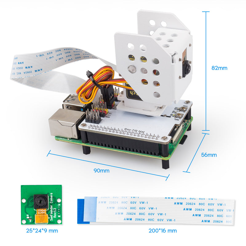 SunFounder Raspberry Pi Camera with 180° Angle Movement 2-Axis Pan Tilt Kit for Raspberry Pi 4B 3B+ 3B, Color/Face/Gesture/Traffic Sign Detection