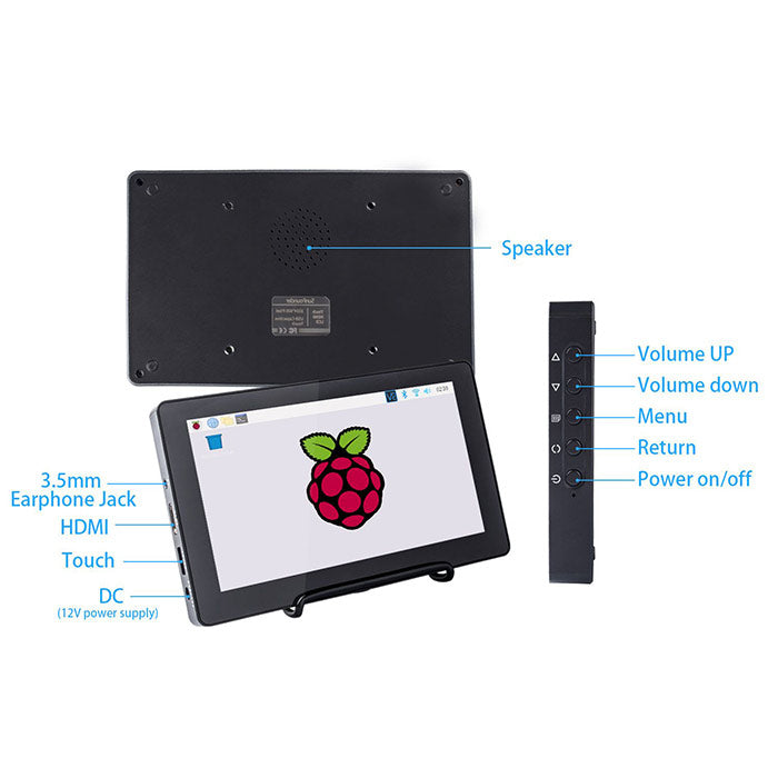 SunFounder 7-Inch Capacitive Screen IPS Monitor LCD Display, Supports HDMI USB-C for Raspberry Pi 4B/3B+/2 Model B/Windows with Bracket