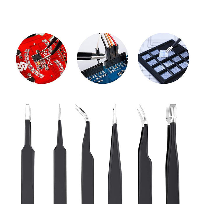 9pcs ESD Tweezers Kit Precision Anti-Static Tweezers Set