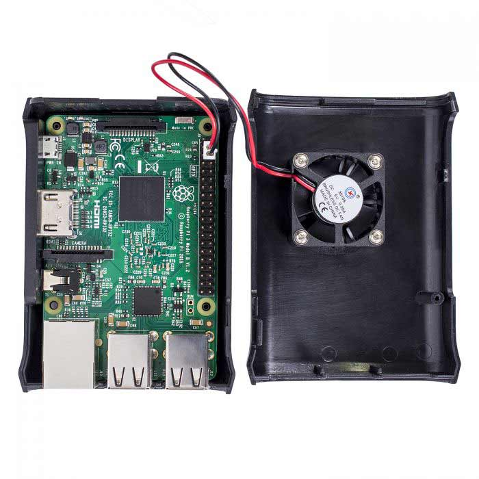 Premium Black ABS Case with External Fan for Raspberry Pi