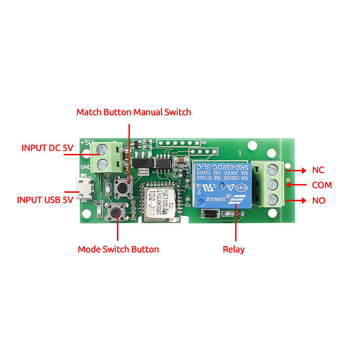 Smart Home Wireless Switch Controller-USB DC 5V Wireless Relay Module