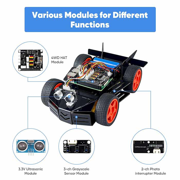 SunFounder PiCar-4WD, Electronic DIY Robot Kit for Teens and Adults, Compatible with Raspberry Pi 4B/3B+ 3B