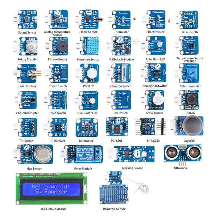 SunFounder Sensor Kit V2.0 for Raspberry Pi 4B, 3B+, 3B, 2B, A+, Zero with 37 Modules
