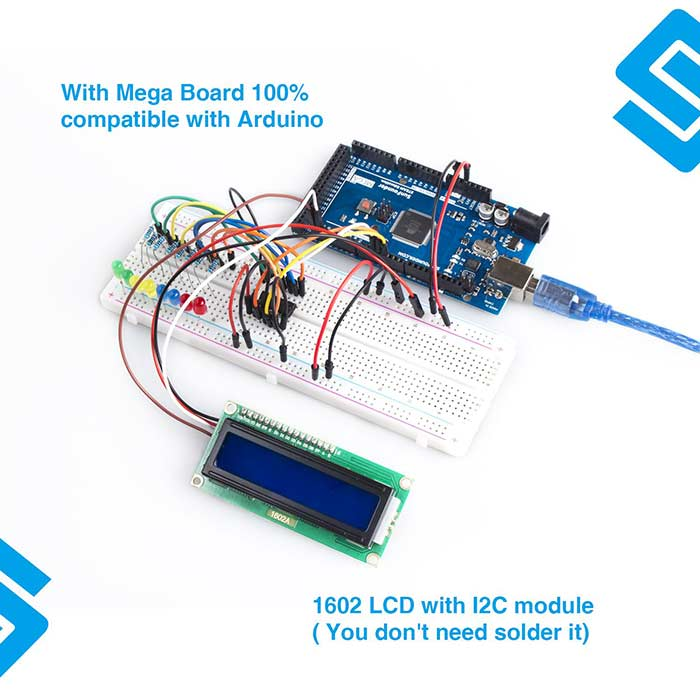 SunFounder Vincent Kit- Mega2560 R3 Starter Kit(Upgraded) for Arduino with 291 Items