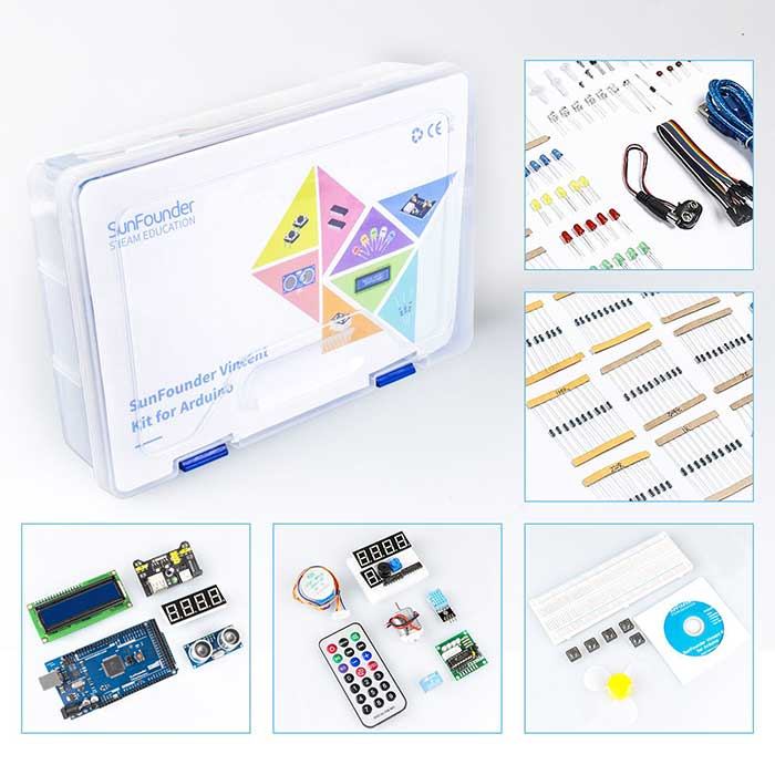 SunFounder Vincent Kit- Mega2560 Starter Kit for Arduino with 291 Items, including MEGA2560 R3 Board and Detailed 357 Page Tutorial