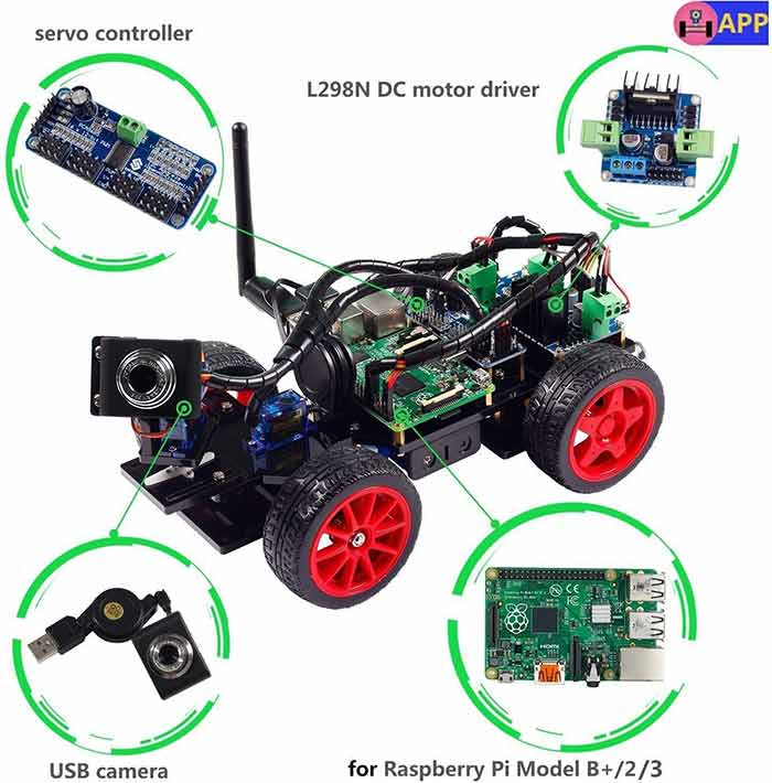 Smart Video Car Kit for Raspberry Pi Compatible with Raspberry Pi 3B+ 3B 2B (Pi Not Included)