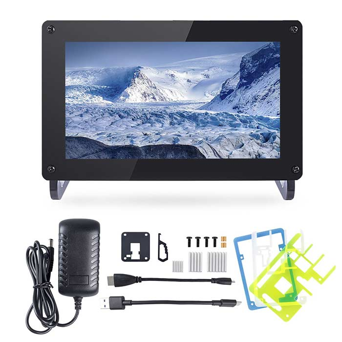 7'' 1024×600 HDMI IPS LCD Display for Raspberry Pi 4, with RPi Case Holder