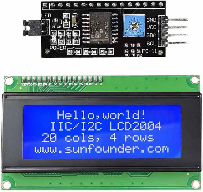 2004 20x4 LCD Module IIC I2C Interface Adapter Blue Backlight for Arduino R3 Raspberry MEGA2560 (2 Pack)