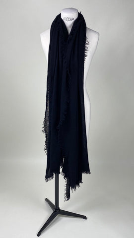 Black Cashmere Felted Large Scarf