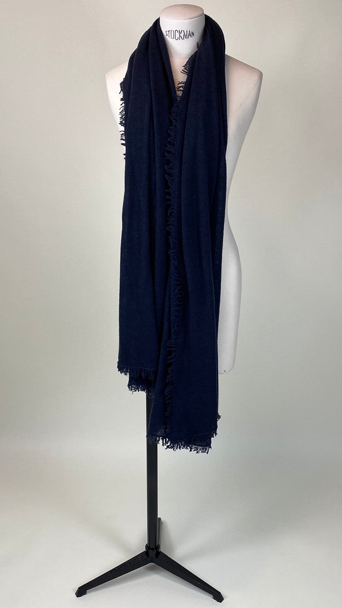 Dark Night Blueblack Cashmere Felted Large Scarf