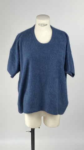 Round Neck Jeans Blue Short Sleeve Pullover