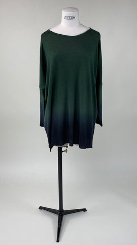 Chloë Long Sleeve Pullover Moss/Anthracite Ombre