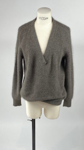 V-Neck Grey Brown Long Sleeve Pullover