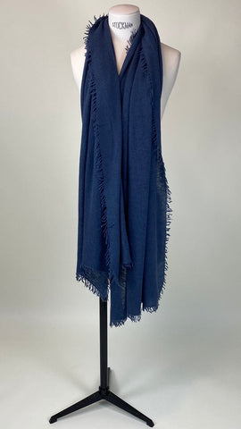 Dark Slate Blue Cashmere Felted Large Scarf