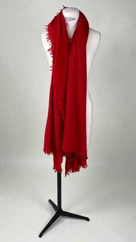 Flame Red Cashmere Felted Large Scarf