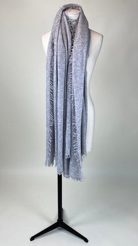 Light Grey Melange Cashmere Felted Large Scarf