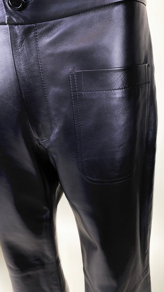 Black Flared Leather Pants