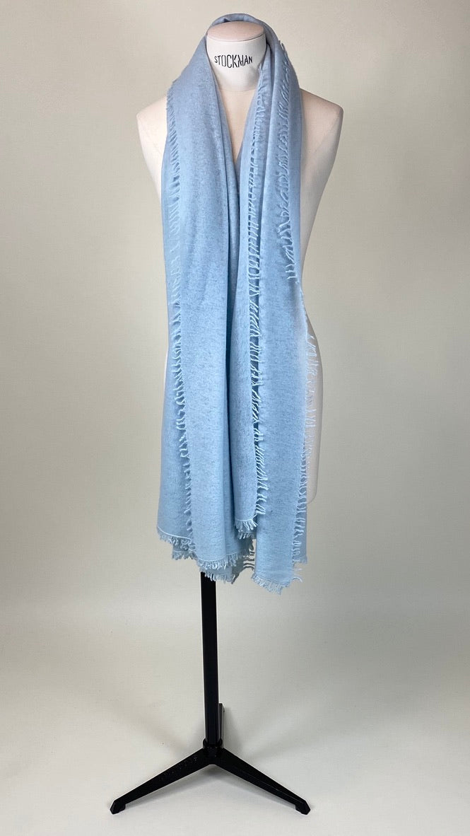 Powder Blue Cashmere Felted Large Scarf