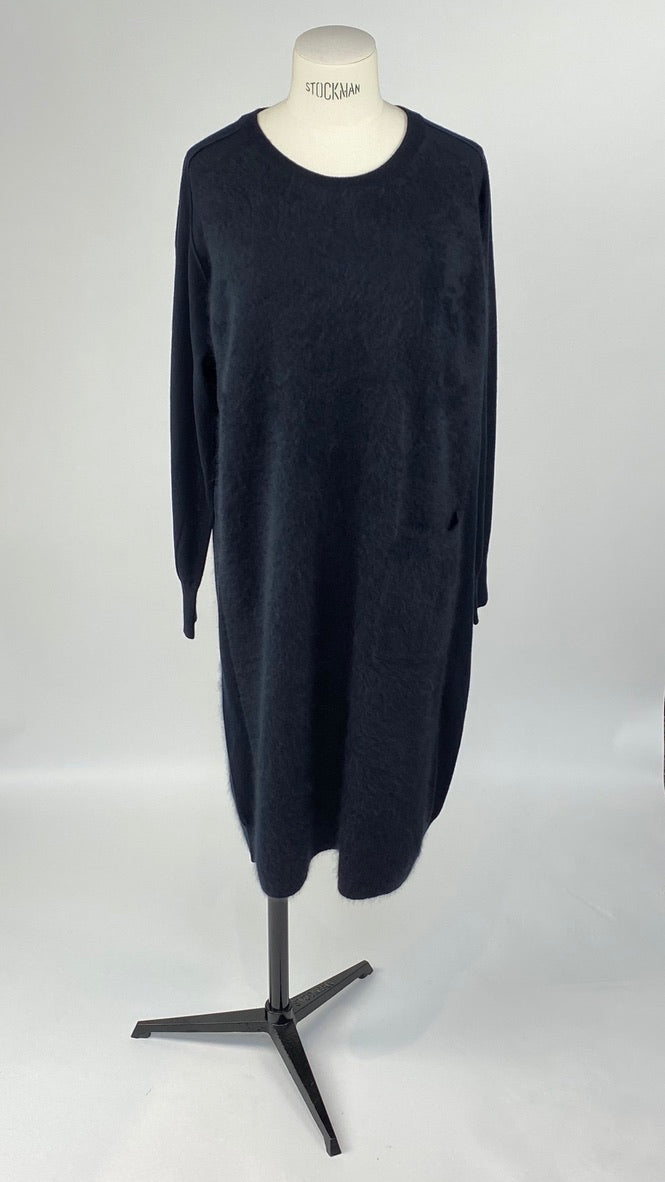 Two Knit Round Neck Black Dress