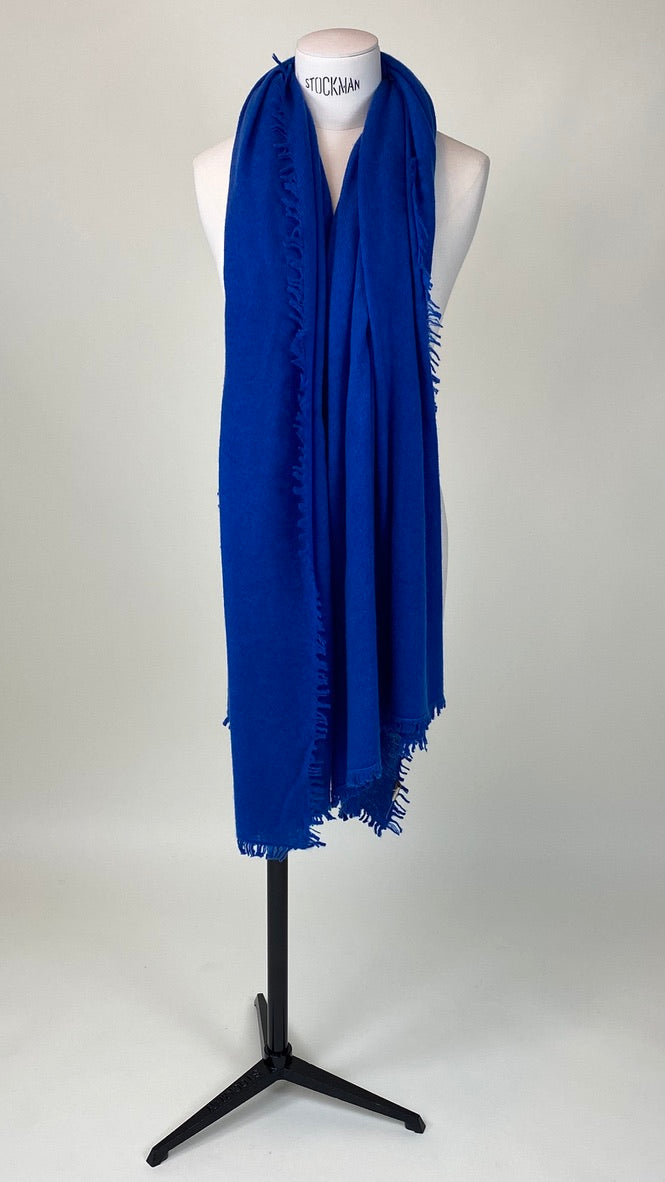 Royal Blue Cashmere Felted Large Scarf