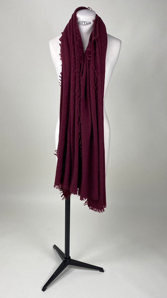 Cherry Bordeaux Cashmere Felted Large Scarf