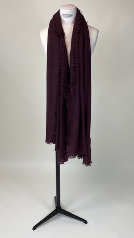 Raisin Dark Bordeaux Cashmere Felted Large Scarf