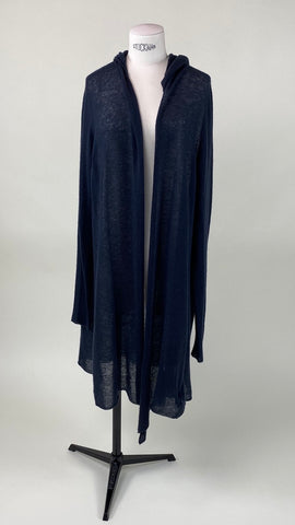 Hooded Long Sleeve Cardigan Dark Blue
