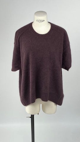 Round Neck Bordeaux Short Sleeve Pullover