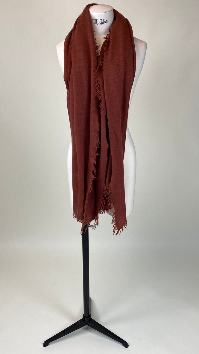 Cinnamon Brown Cashmere Felted Large Scarf