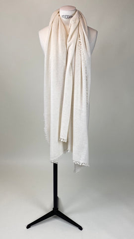 Natural Off White Cashmere Felted Large Scarf