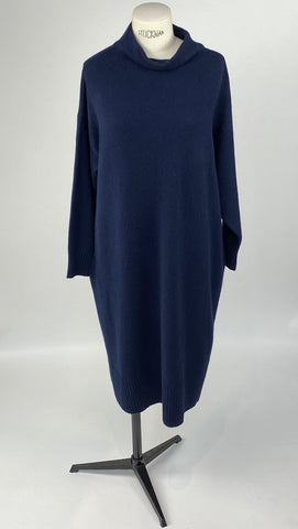 Cashmere Ink Blue Turtleneck Dress