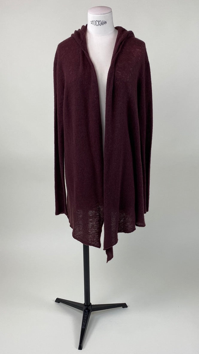 Hooded Long Sleeve Cardigan Raisin