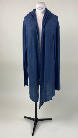 Hooded Long Sleeve Cardigan Slate Blue