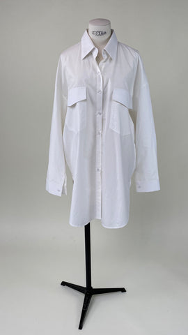 Back Gathered Shirt White