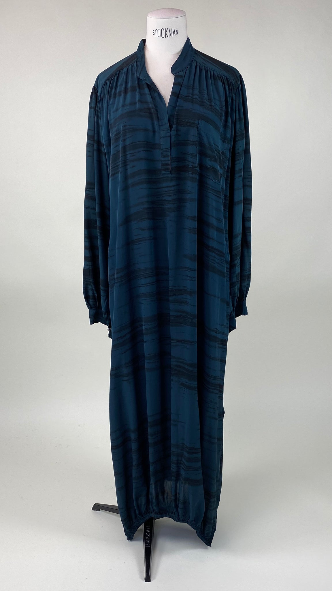 Octavia Wild Stripe Placket Blue/Black Dress