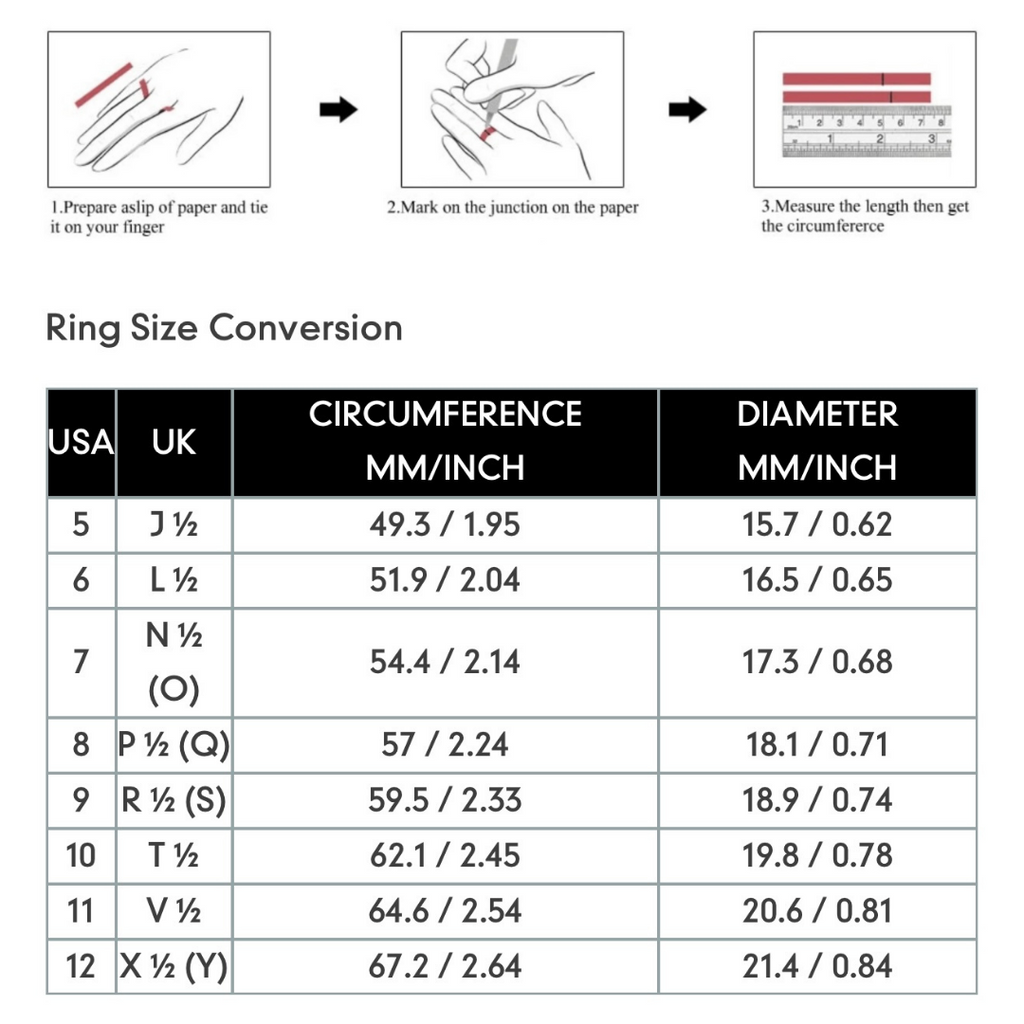 Ring Size Conversion Chart - Luxe Volition