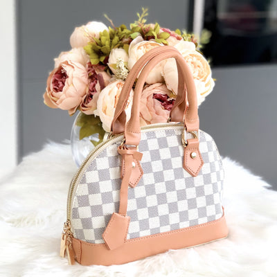 Aaliyah Beige Checkered Patterned Tote Bag Front