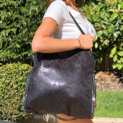 Sarah Black Faux Leather Chain Tote Bag Main Product Image