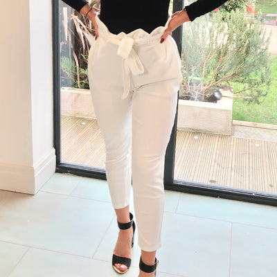 Isla White Pleated Tie Waist Paperbag Cigarette Trousers Product Image