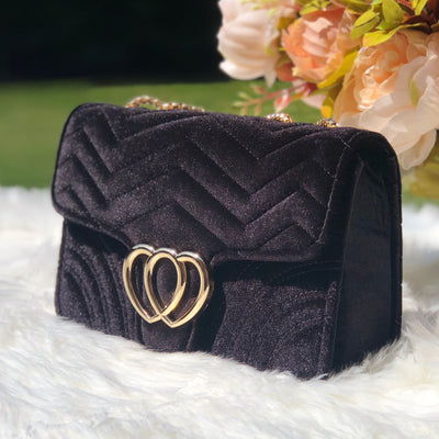 Kate Black Velvet Quilted Chevron Chain Crossbody Bag Side View