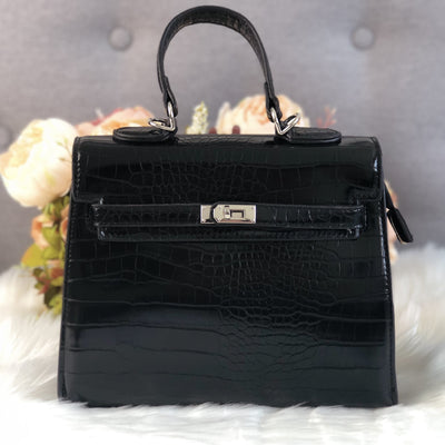 Lauren Black Faux Croc Handle Tote Bag Product Image