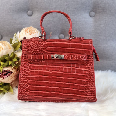 Lauren Red Faux Croc Handle Tote Bag Product Image