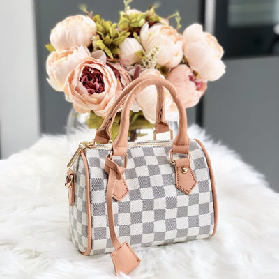Lucia Beige Mini Checkered Pattern Duffel Bag Side