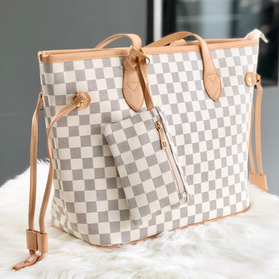 Lydia Beige Shopper Checkered Tote Bag With Purse Attached