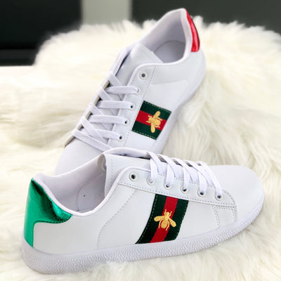 Olivia Embroidered Bee Stripe White Trainers Product