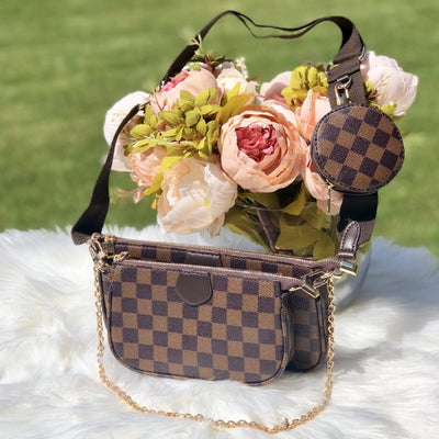 Paige Brown Checkered Trio Chain Crossbody Bag Product Image