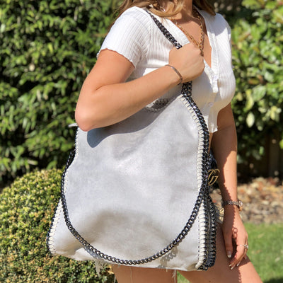 Sarah Grey Faux Leather Chain Tote Bag Main Product Image