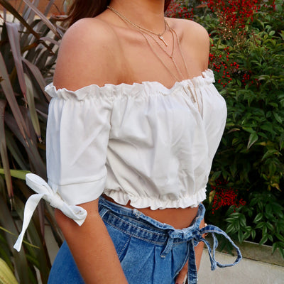 Saskia White Frill Edge Short Sleeve Bardot Crop Top Side Close-Up 2