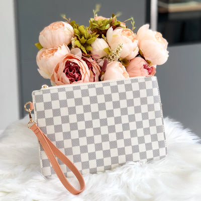 Sophia Beige Checkered Patterned Clutch Bag Front